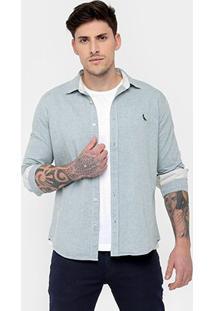 Camisa Reserva Oxford Mesclado Bordado - Masculino-Azul Claro