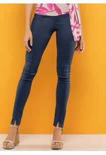 Calça Skinny Em Bengaline Azul