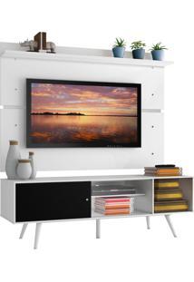 Rack Madesa Cairo E Painel Para Tv Atã© 65 Polegadas Com Pã©S De Madeira - Branco/Preto/Branco Branco - Branco - Dafiti