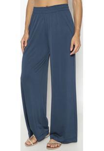 Calça Pantalona Com Bolsos- Azul Marinho- Patrapatra