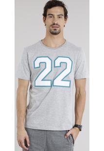 """Camiseta Masculina Esportiva Ace """"22"""" Manga Curta Gola Careca Cinza Mescla Claro"""
