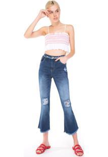 Calça Jeans Flare Cropped Detalhes