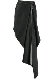 Atu Body Couture Draped Denim Skirt - Preto