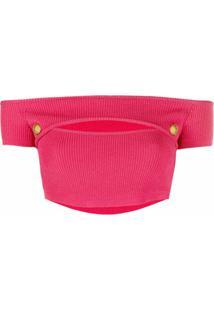 Balmain Blusa Cropped Ombro A Ombro De Tricô - Rosa