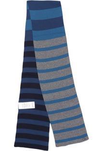 Cachecol Dupla Face Em Tricô - Azul & Cinza - 18X160Ogochi