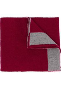 Dell'Oglio Cachecol De Cashmere Com Acabamento Contrastante - Vermelho