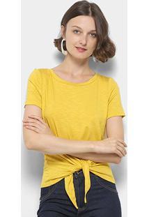 Blusa Mercatto Amarração Feminina - Feminino-Amarelo