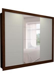 Guarda-Roupa Casal Com 1 Espelho Helena 3 Pt 4 Gv Branco E Marrom 277 Cm
