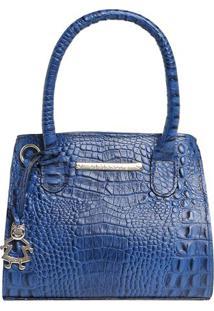 Bolsa De Mão Em Couro Com Bag Charm - Azul - 20X16X8Di Marlys