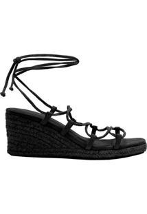 Sandália Plataforma Corda Amarração