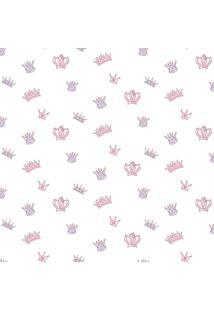Papel De Parede Coleção Bim Bum Bam Branco Rosa Lilás Coroas 2206 Cristiana Masy
