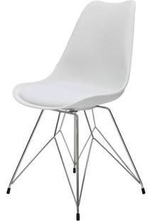 Cadeira Eames Premium Com Almofada Branca Base Torre - 40902 Sun House