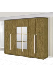 Guarda-Roupa 6 Portas Sentra 100% Mdf Com Espelho Castanho Texturizado - Fênix Móveis