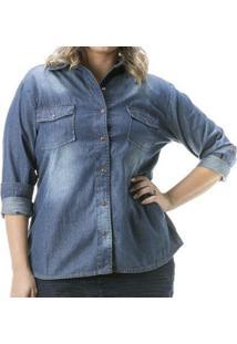 Camisa Jeans Confidencial Extra Manga Longa Plus Size Feminina - Feminino-Azul