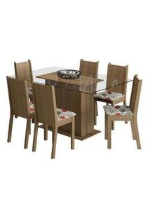 Conjunto Sala De Jantar Madesa Molly Mesa Tampo De Vidro Com 6 Cadeiras Rustic/Floral Hibiscos Rustic
