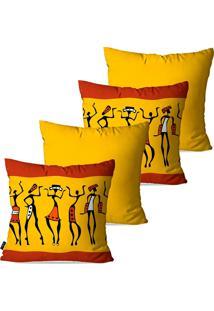 Kit Com 4 Capas Para Almofadas Pump Up Decorativas Africa Fashion 45X45Cm