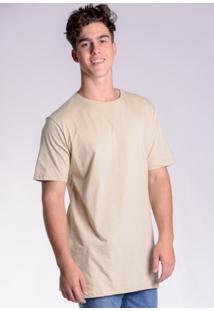 Camiseta Básica Alongada Caqui