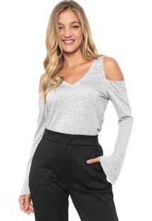 Blusa Dzarm Off Shoulders Cinza