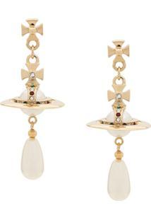 Vivienne Westwood Par De Brincos Com Aplicações - Dourado
