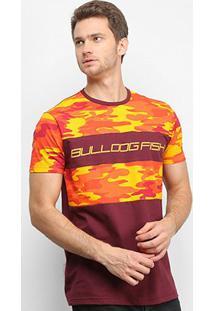 Camiseta Bulldog Fish Faixa Camuflada Masculina - Masculino-Vinho