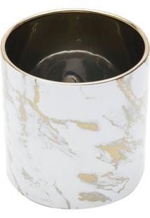 Vaso Decorativo De Cerâmica Marble Dourado