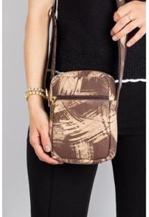 Bolsa Feminina Shoulder Bag De Couro Estampado Pietra - Feminino-Bege+Marrom