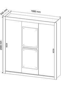 Guarda-Roupa Casal 3 Portas De Correr Com Espelho Canadá Siena Móveis Branco