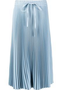 Red Valentino Drawstring Pleated Midi Skirt - Azul