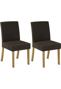 Kit 2 Cadeiras Estofadas Para Sala De Jantar Maris Nature/Marrom - Hen