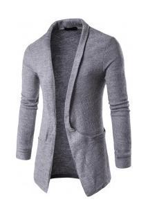 Cardigan Masculino Slim Com Design Bolso Lateral - Cinza