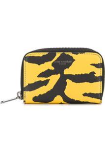 Saint Laurent Carteira Animal Print Com Zíper - Amarelo