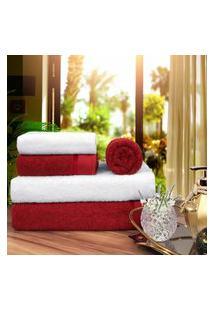 Toalha De Banho 100 Algodáo Penteado Jogo Com 2 Banháo 2 Rosto E 1 Piso Vermelha E Branca
