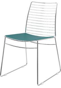 Cadeira 1712 Cromado Com Assento Couro Turquesa