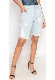 Bermuda Jeans Com Destroyed- Azul Claro- Tuaregtuareg