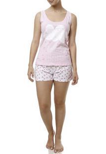 Pijama Curto Feminino Rosa/Branco