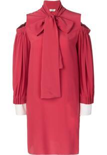 Fendi Vestido Com Recortes Vazados - Vermelho