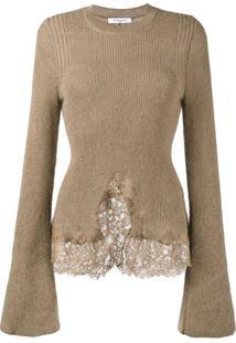 Givenchy Suéter De Tricô Com Renda - Marrom