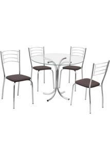 Conjunto Mesa Redonda Tampo De Vidro E 4 Cadeiras Assento Courino Renata 176 Cozinha Fil Móveis Tabaco