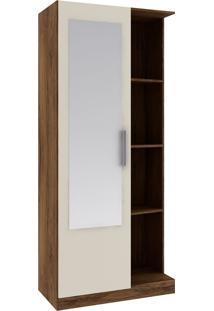 Armário Multiuso 1 Porta Com Espelho Mu1004 – Rodial - Cacau / Champanhe