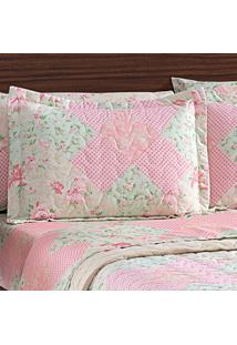 Porta Travesseiro Matelasse Micropercal Floral Patch