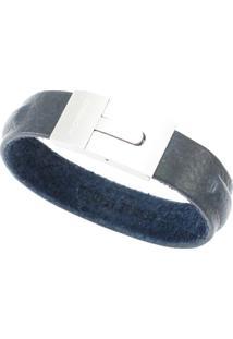 Bracelete Tudo Joias De Couro Rosso Blue Fecho Aço Inox - Unissex-Azul