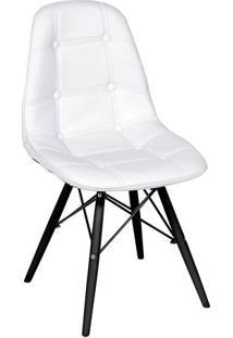 Cadeira Eames Botonê- Branca & Madeira Preta- 83X44Xor Design