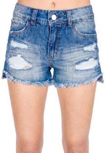 Shorts Jeans Destroyed Colcci - Feminino-Azul