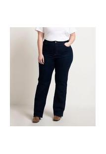 Calça Reta Jeans Lisa Curve & Plus Size | Ashua Curve E Plus Size | Azul | 52
