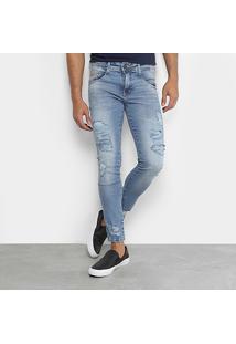 Calça Jeans Skinny Destroyed Biotipo Masculina - Masculino-Jeans