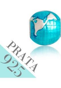 Pingente Prata 925 Globo Memories Kumbayá Joias - Feminino-Azul