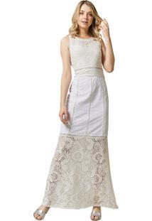 Vestido Mx Fashion Longo De Renda Greta Off White