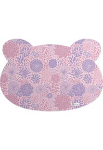 Tapete Pet Mdecore Urso Floral Rosa 54X39Cm