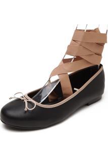 Sapatilha Ballet Dafiti Shoes Laço Preta/Nude