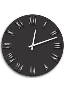 Relógio De Parede Premium Preto Ônix Com Números Romanos Em Relevo Acrílico Espelhado Prata 50Cm Grande